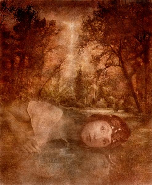 Art Embracing Awareness 2, surreal and mystical mixed media artwork