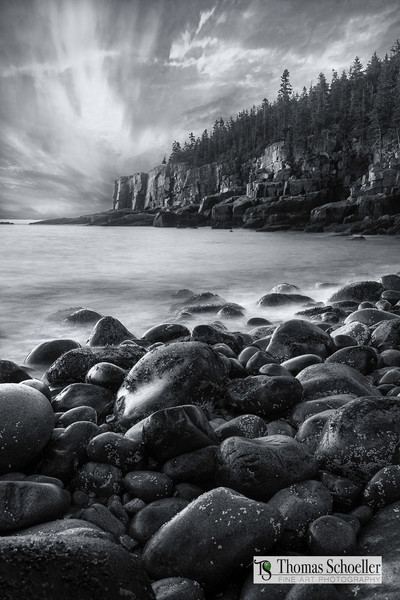 Acadia National Park B&W Fine Art nature prints/Otter Cliffs sunset wall decor