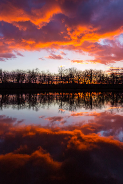 Fine Art Photograph - Orange Sunset Reflection