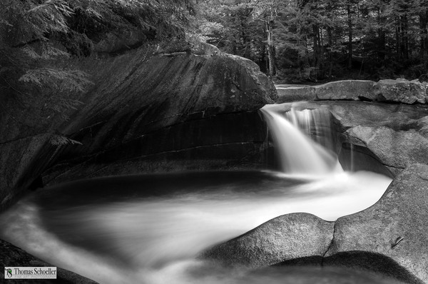 Franconia Notch New Hampshire/Dramatic natural formations from the Basin/B&W fine art wall decor