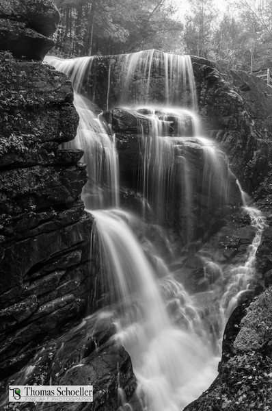 Flume Gorge New Hampshire/Avalanche Falls as an exquisite B&W fine art print