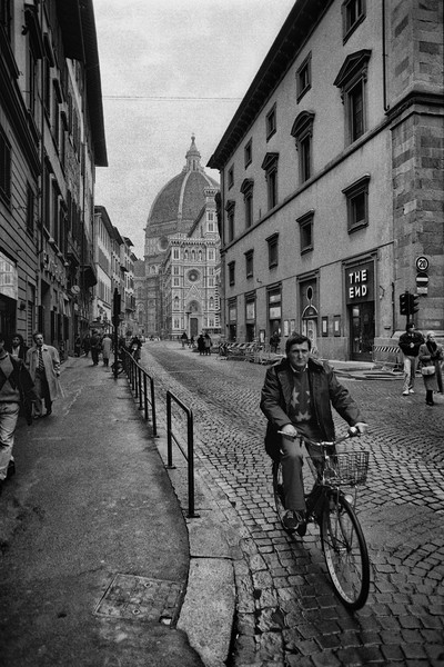 Bicyclist Near Duomo, Florence, Italy