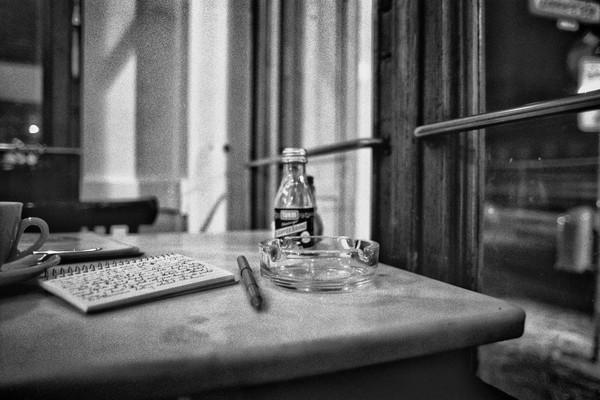 Writing at Cafe Adler, Berlin