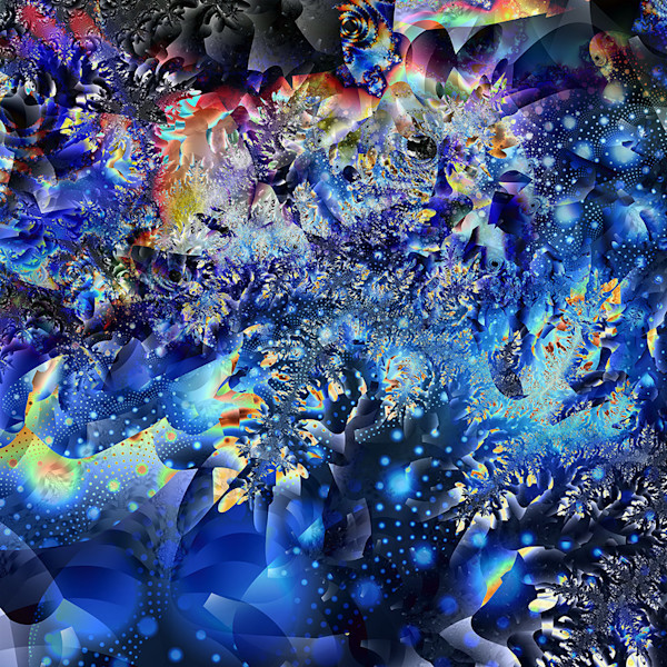 This stunning abstract digital work by artist Paul Pinzarrone appears almost as if it is a view into the depths of the ocean, or perhaps the brilliance of a galaxy in another world.
