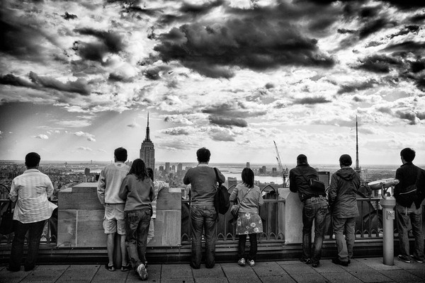 Tourists View New York City from 30 Rock