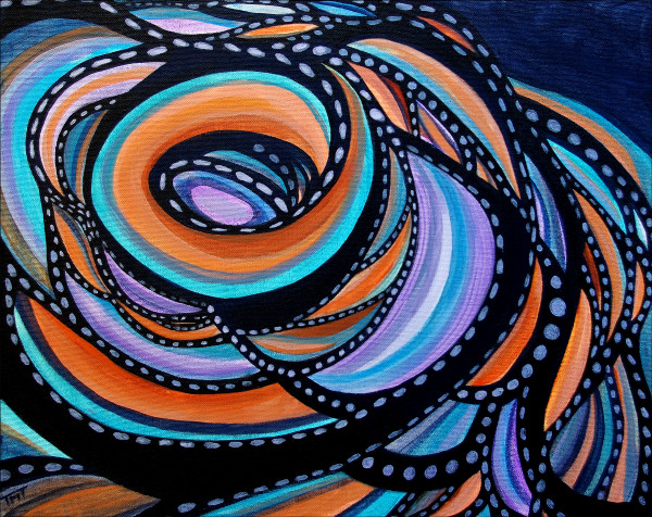 Geometric patterns, swirling curve, abstract art