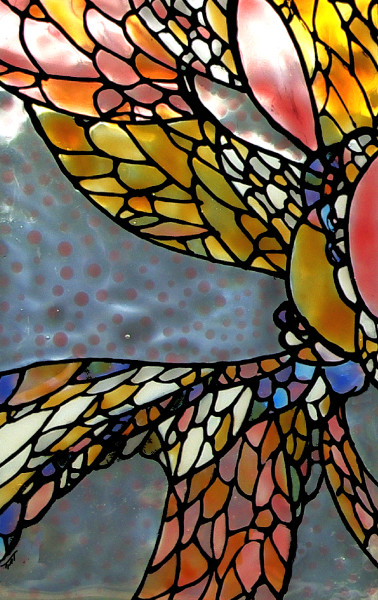 glass art, angel wing, rose tones, abstract, painting