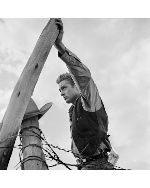 James Dean Hand on Post on the Set of Giant