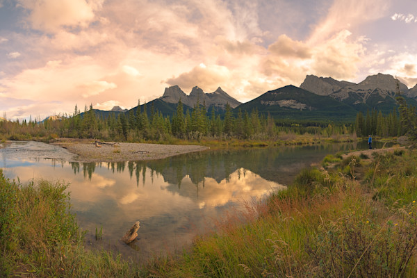 Bow River and Three Sisters Photograph for Sale as Fine Art.