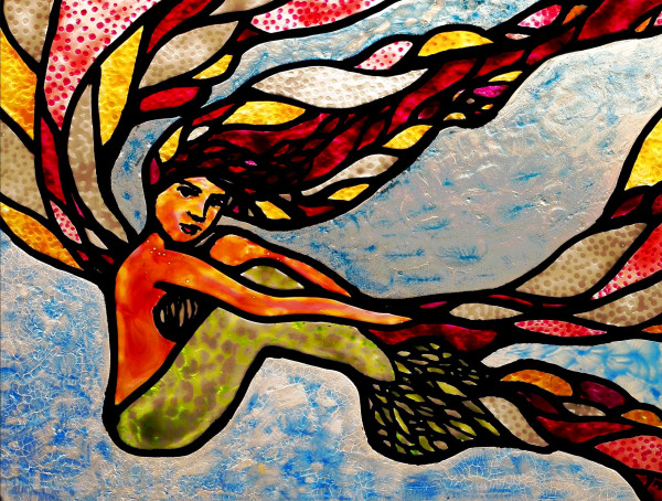 glass art, mermaid art, red glass, painted swirls