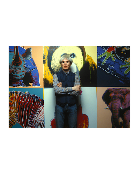 Andy Warhol standing in front of pictures