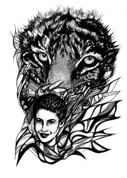 Surrealistic Reflections - Tiger Tracks Pen & Ink Art