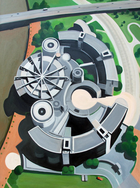 Gray and complex, this circular nature of this government building in Dusseldorf, Germany, is emphasized when seen from above in this original painting by Toni Silber-Delerive.