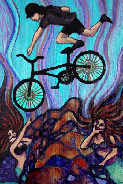 mermaid art, undersea art, bicycle art