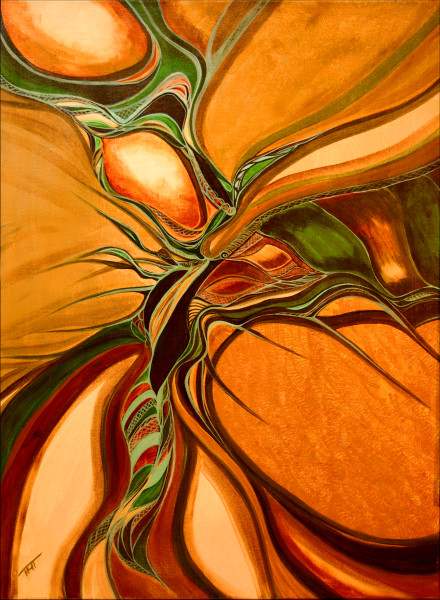 orange abstract, ripple in space, metis art