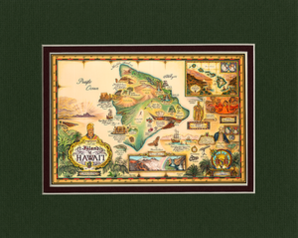 Matted Prints | Map of Hawaii