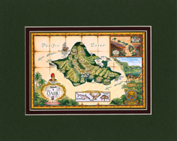 Matted Prints | Map of Oahu