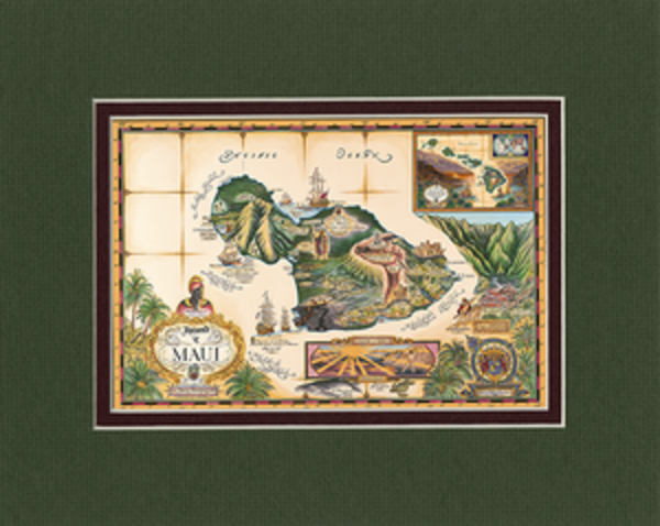 Matted Prints | Map of Maui