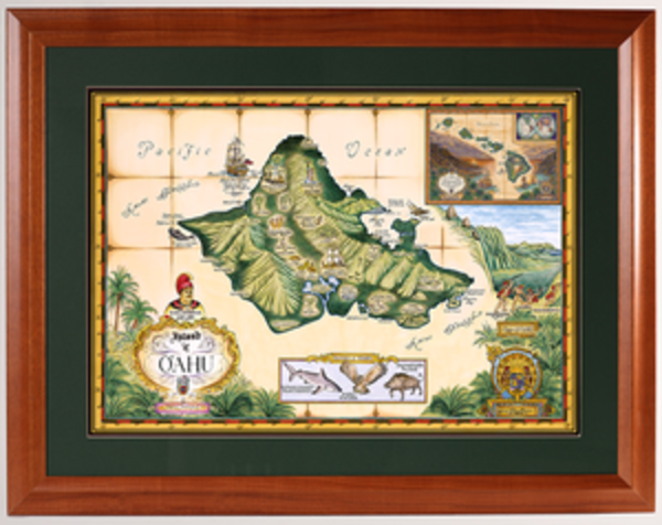 Framed Prints | Map of Oahu
