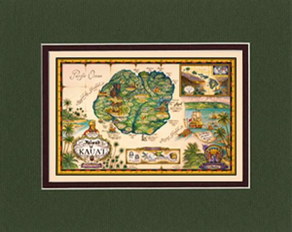 Matted Prints | Map of Kauai