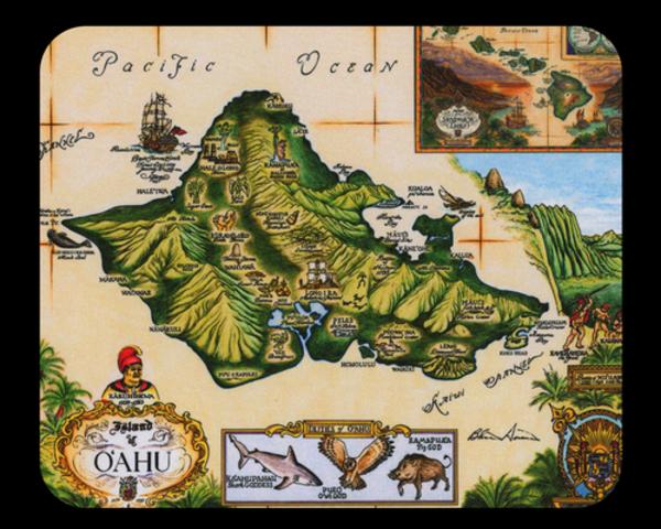 Map of Oahu Mousepad