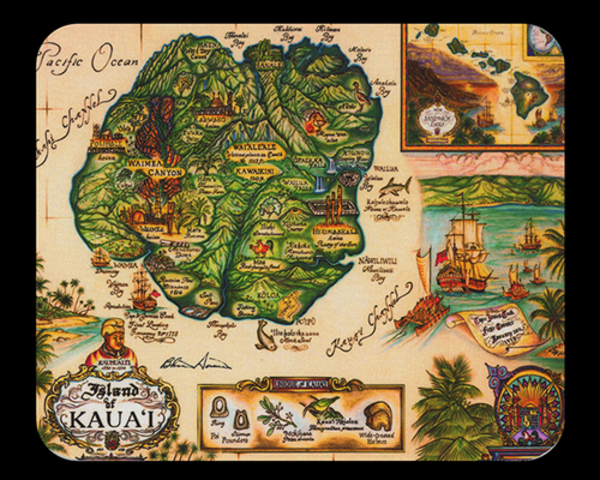 Map of Kauai Mousepad