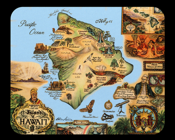 Map of Hawaii Mousepad Blue