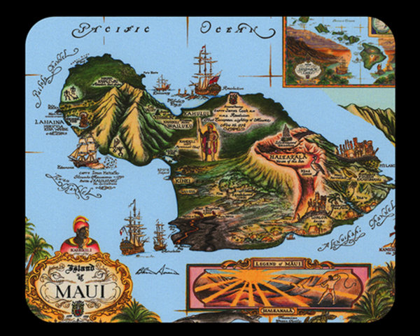 Map of Maui Mousepad - Blue