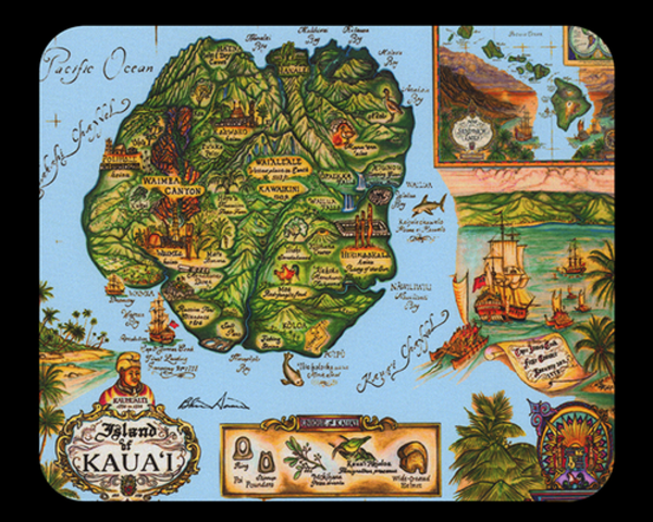 Map of Kauai Mousepad - Blue