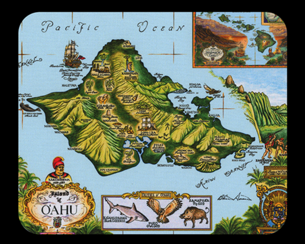 Map of Oahu Mousepad - Blue