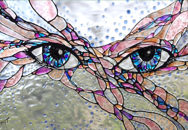 Painted Glass Art - Undersea Eyes