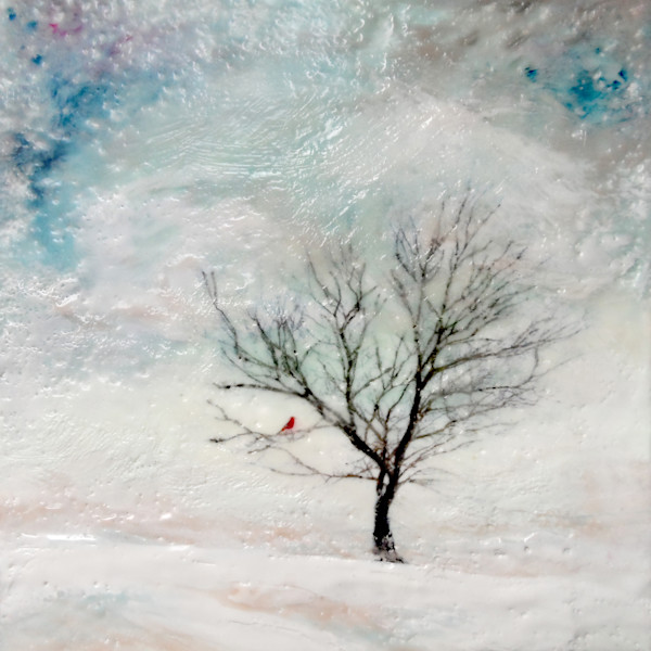 Cardinal's Solace - Abstract Tree Paintings - Art Work Sale
