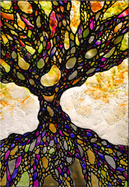 Unique Glass Painting of Celtic Tree of Life