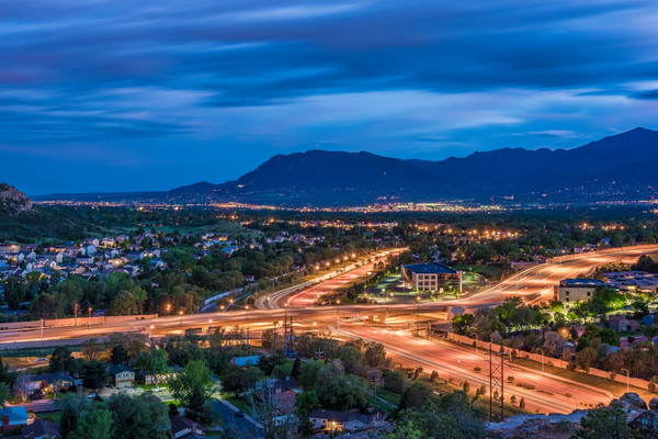 Photography of Colorado Springs City Night Skyline Cheyenne Mountain Print for Sale