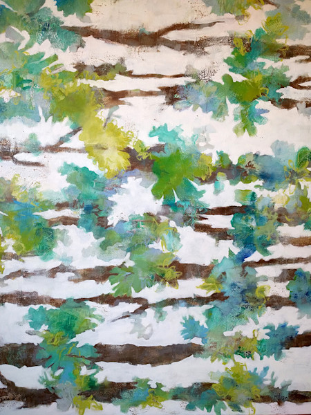 A wonderful combination of blues and greens come together to create this abstract take on lichen growing on tree branches in this original painting by Elisa Sheehan.