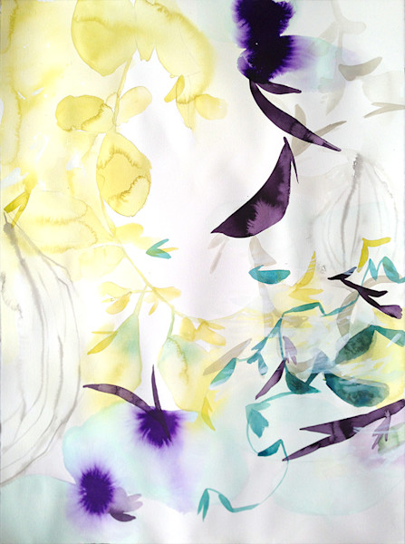 ethereal deep purples and pale yellows float against a softly lit background creating a luminous, light filled image in this original acrylic and watercolor painting by Elisa Sheehan.