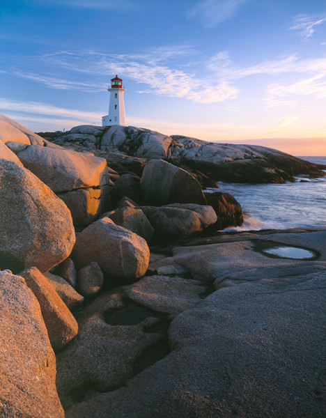 Peggys Cove lightouse on the rugged coast of Nova Scotia, Canada