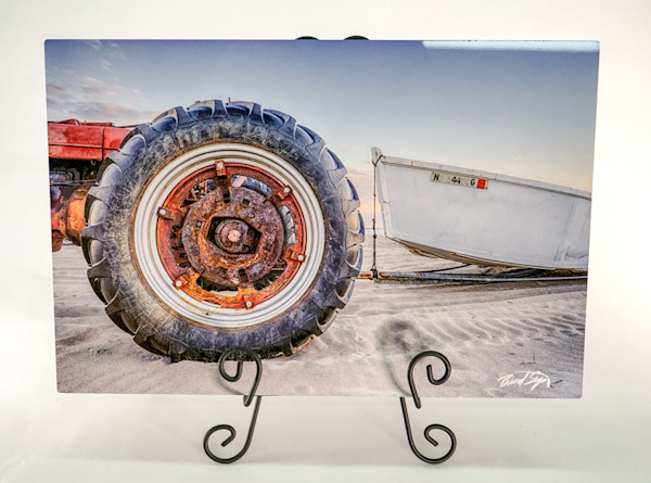Stop Netting Tractor & Boat Photograph on Metal