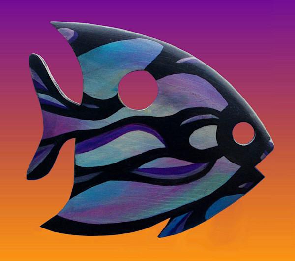 Blue & Lavender Painted Wood Angelfish Sculpture