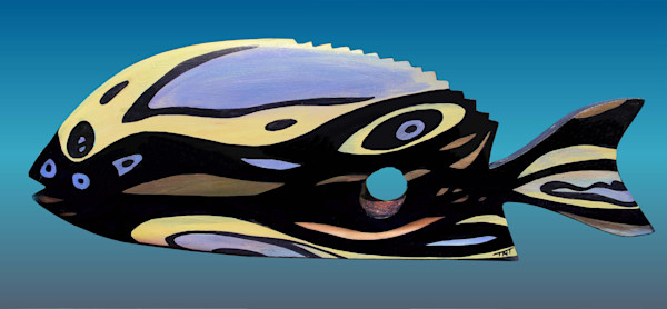 Unique style abstract painted fish on wood.
