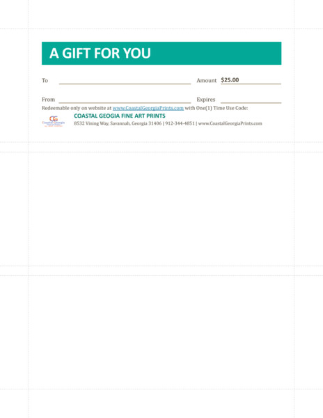 25.00 Gift Certificate