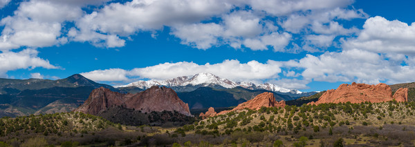 Panoramic Photograph Garden of the Gods Snow Covered Pikes Peak