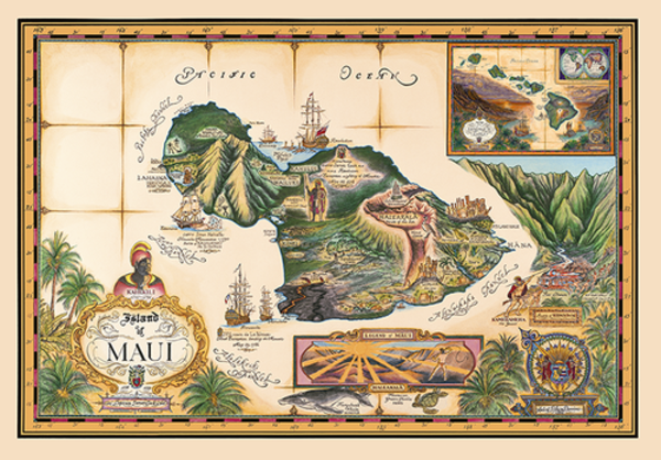 Signed Art Prints | Map of Maui by Blaise Domino