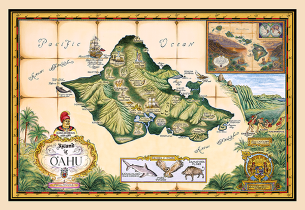 Signed Art Prints | Map of Oahu by Blaise Domino