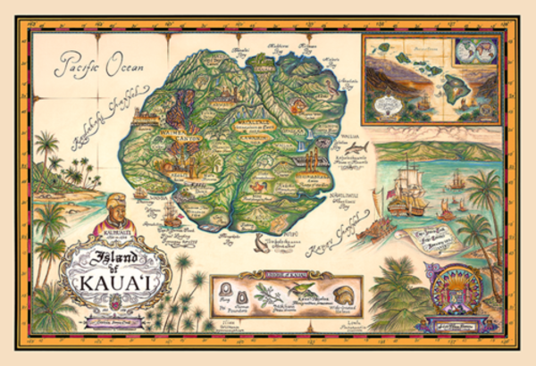 Signed Art Prints | Map of Kauai by Blaise Domino