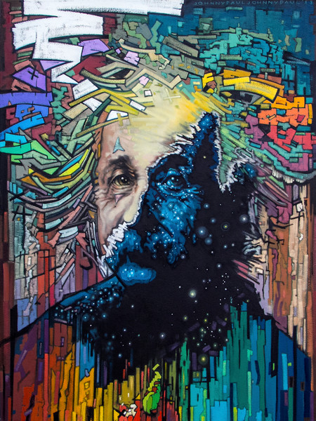 Timespace Realist - abstract portrait of Albert Einstein for sale
