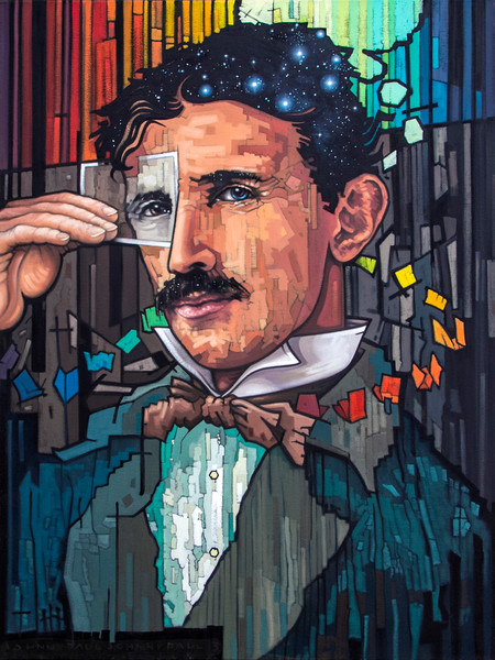 Timespace Visionary - portrait of Nikolai Tesla - original abstract art painting for sale