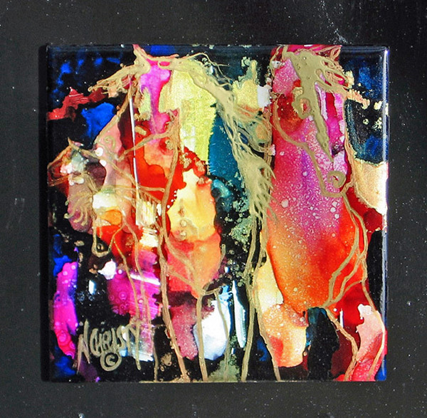 Original hand-painted abstract horses using alcohol inks on ceramic tile