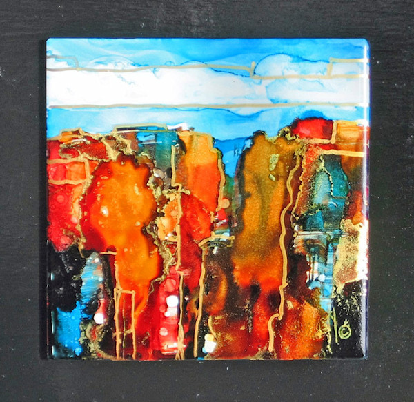 Hand-painted, original abstract landscape series.  Painted wtih alcohol inks on ceramic tiles, mounted on wood panel