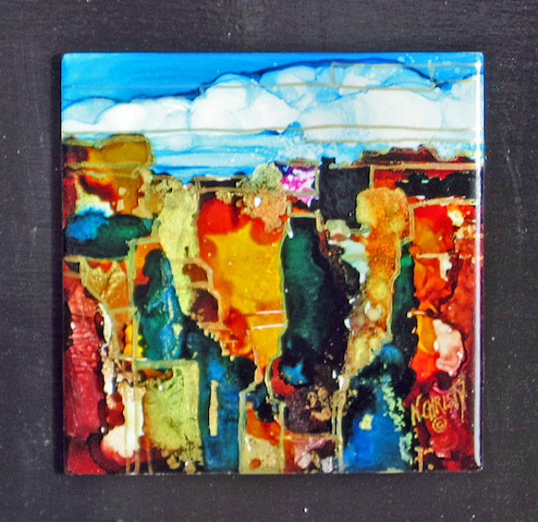 Original hand-painted abstract landscape in canyon series using alcohol inks on ceramic tiles